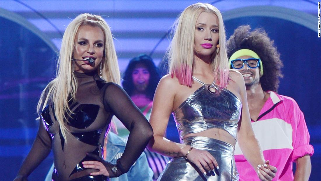 "Spears and Iggy Azalea perform at the 2015 Billboard Music Awards. They released a song together called ""Pretty Girls."""