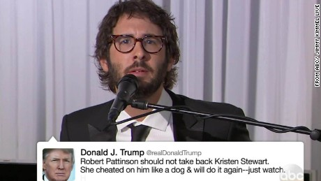 Josh Groban Donald Trump's Tweets Jimmy Kimmel Daily Hit Newday _00001811