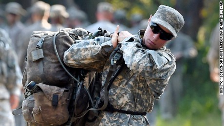 A female Army Ranger student lifts a rucksack onto her back on Tuesday, Aug. 4, 2015, at Camp James E. Rudder on Eglin Air Force Base, Fla. Two out of 19 females have made it to the final phase of Army Ranger training which ends at Camp James E. Rudder on Eglin Air Force Base. (Nick Tomecek/Northwest Florida Daily News via AP)