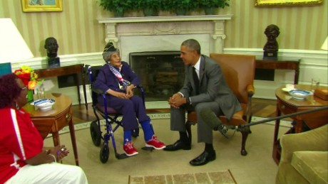 Longest living oldest veteran Emma Didlake White House President Obama visit _00000020