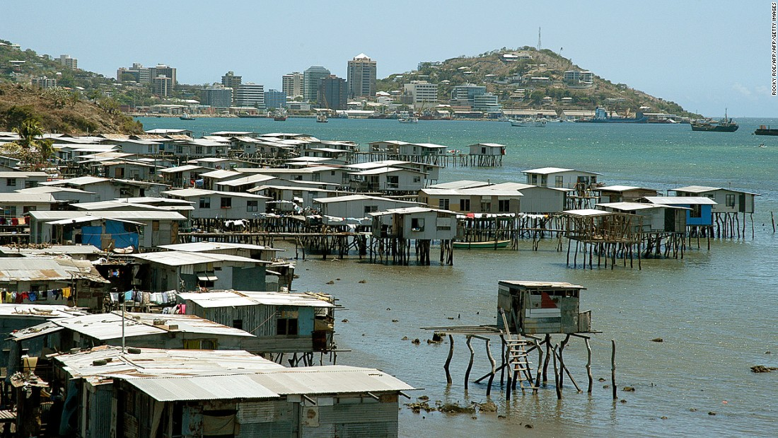 The capital city of Papua New Guinea ranked 138 in the list, thanks largely to a high crime rate and an underdeveloped infrastructure. Hanuabada, pictured, is a stilt village sitting on the outskirts of Port Moresby.