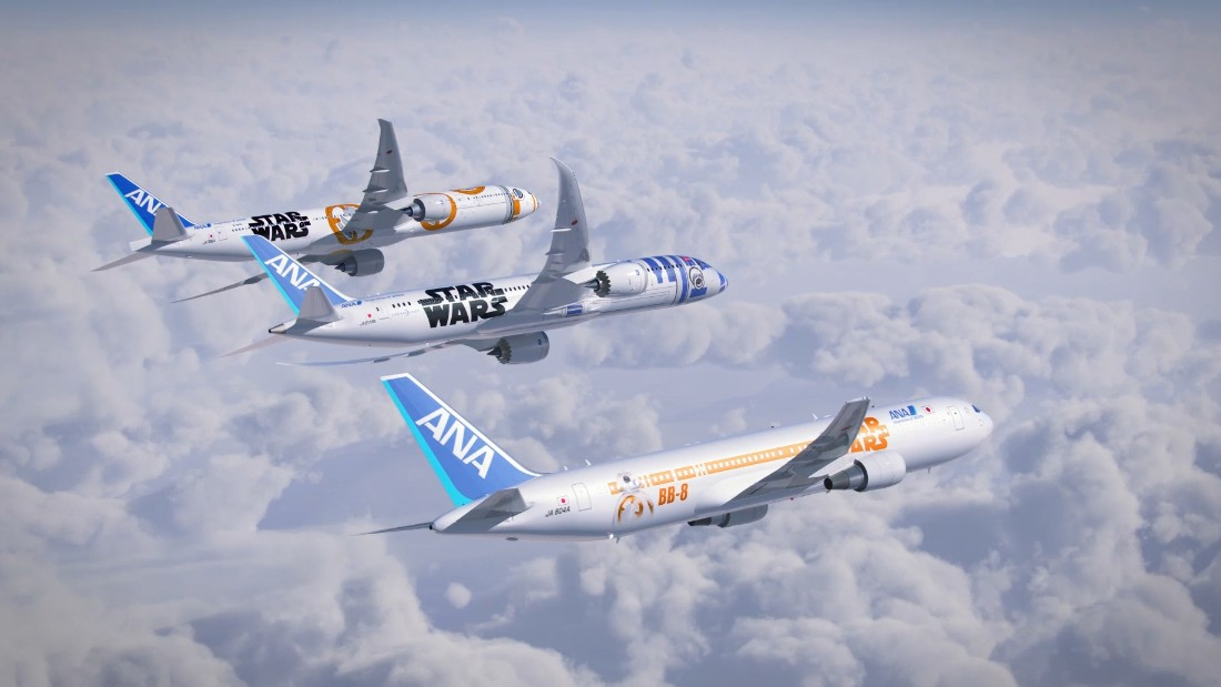 "To capitalize on the December premiere of ""Star Wars: The Force Awakens,"" Japan carrier All Nippon Airways has launched a fleet of ""Star Wars""-themed planes."