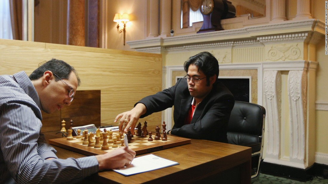 Chess Grandmasters Hikaru Nakamura (R) plays Rustam Kasimdzhanov in the World Chess London Grand Prix. Nakamura is currently the world No. 3 and became a chess grandmaster at the age of 15.
