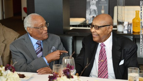 Herb Douglas, left, and Louis Stokes attend the Hennessy V.S and Cleveland Cavaliers event honoring Olympian Medalist Herb Douglas for Black History Month on February 2, 2015 in Cleveland, Ohio.