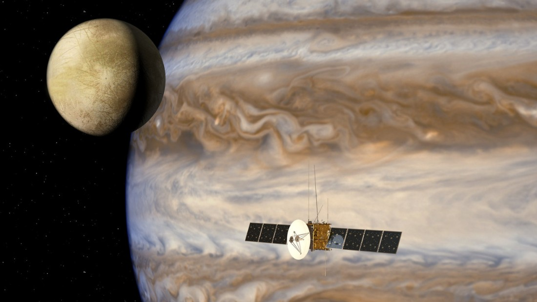 An artist's impression of the Juice probe in the Jovian system. Picture courtesy of ESA/AOES