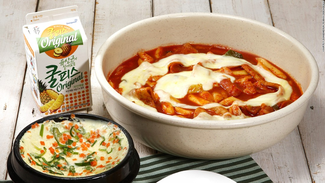 <strong>Spice rating: </strong>2/5<br />Soft rice cakes and fish cakes cooked in sweet red chili sauce, ddeokbokki is one of Korea's most loved snacks and comfort foods. It's great for takeout, meaning you can wince in privacy.