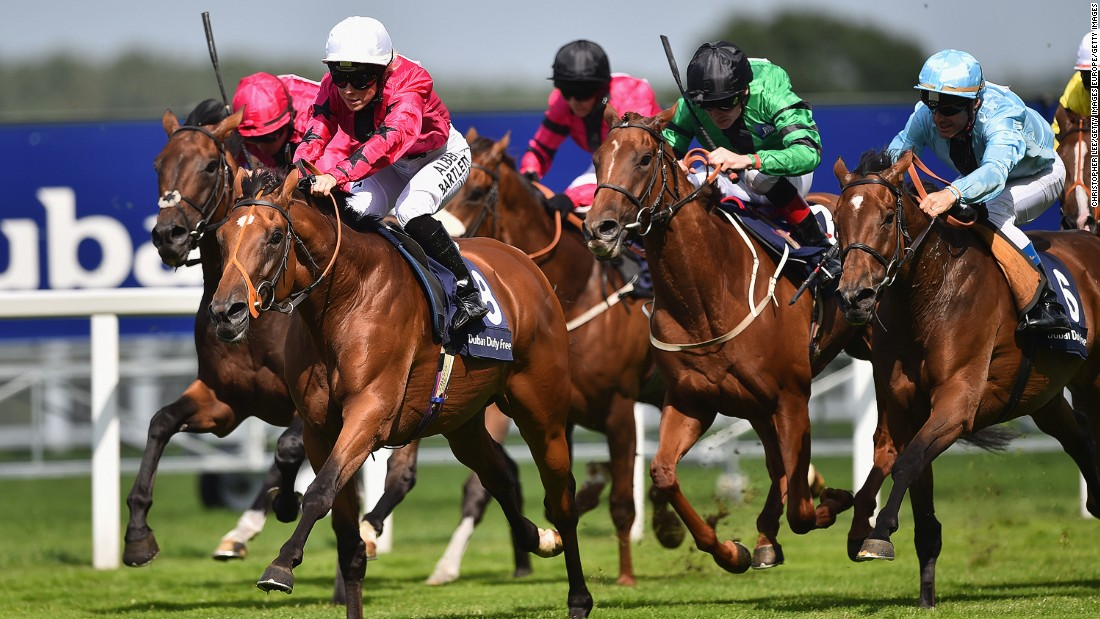 Bell leads the chasing pack riding Shell Bay at the Shergar Cup at Ascot Racecourse on August 8, 2015. The girl from Co. Antrim was the first apprentice jockey to take part in the professional team event.
