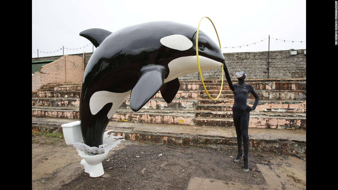 This killer whale jumping out of a toilet piece by Banksy was also on the grounds.