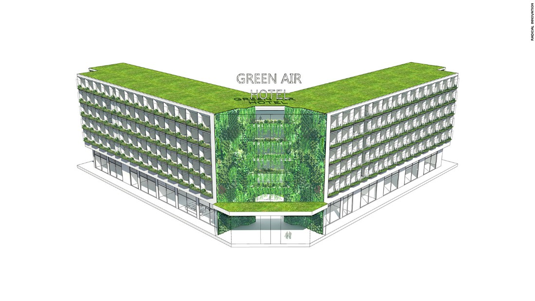 Winner of the Radical Innovation in Hospitality Award in 2014, the design, created by Lip Chiong and Studio Twist was aimed at tackling the challenges of indoor pollution in China. Indoor air quality, according to the Environmental Protection Agency, can be more dangerous than outdoor pollution, due to inadequate ventilation. In this concept, greenhouse gardens woven throughout outdated hotel buildings would act as air filters to remove pollutants in the air.