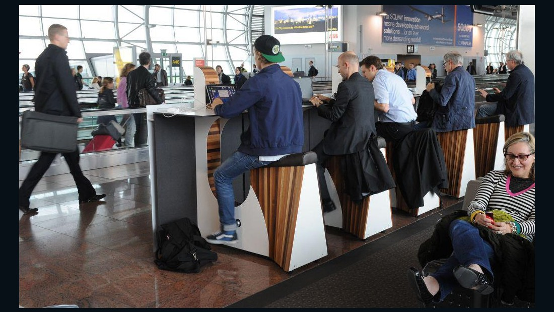 More airports are also encouraging passengers to exercise in order to boost their serotonin levels. At Brussels Airport (pictured) and Amsterdam's Schiphol, travelers can charge their mobile devices by riding stationary bikes.