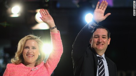 U.S. Sen. Ted Cruz (R-TX) (R) and his wife Heidi Cruz wave to the crowd stand on stage while speaking to a crowd gathered at Liberty University to announce his presidential candidacy March 23, 2015 in Lynchburg, Virginia. Cruz officially announced his 2016 presidential campaign for the President of the United States during the event.