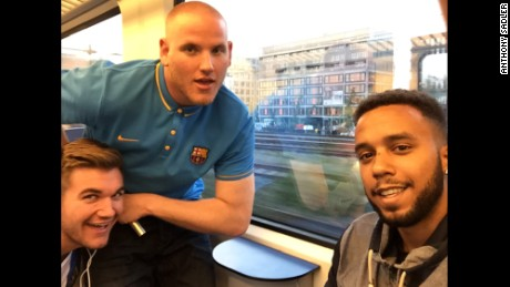 From eft, Alek Skarlatos, U.S. Airman First Class Spencer Stone and Anthony Sadler aboard the Paris-bound train in France just hours before they foilied an attack by a shirtless man wielding a Kalashnikov aboard a high-speed Thalys train from Amsterdam to Paris on Friday, August 21.