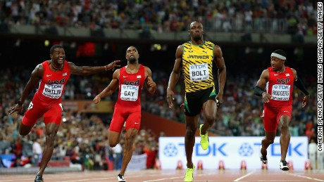BEIJING, CHINA - AUGUST 23:  Usain Bolt of Jamaica wins gold in the Men's 100 metres final during day two of the 15th IAAF World Athletics Championships Beijing 2015 at Beijing National Stadium on August 23, 2015 in Beijing, China.  (Photo by Cameron Spencer/Getty Images)