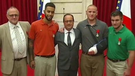 French President bestows Legion of Honor on train heroes