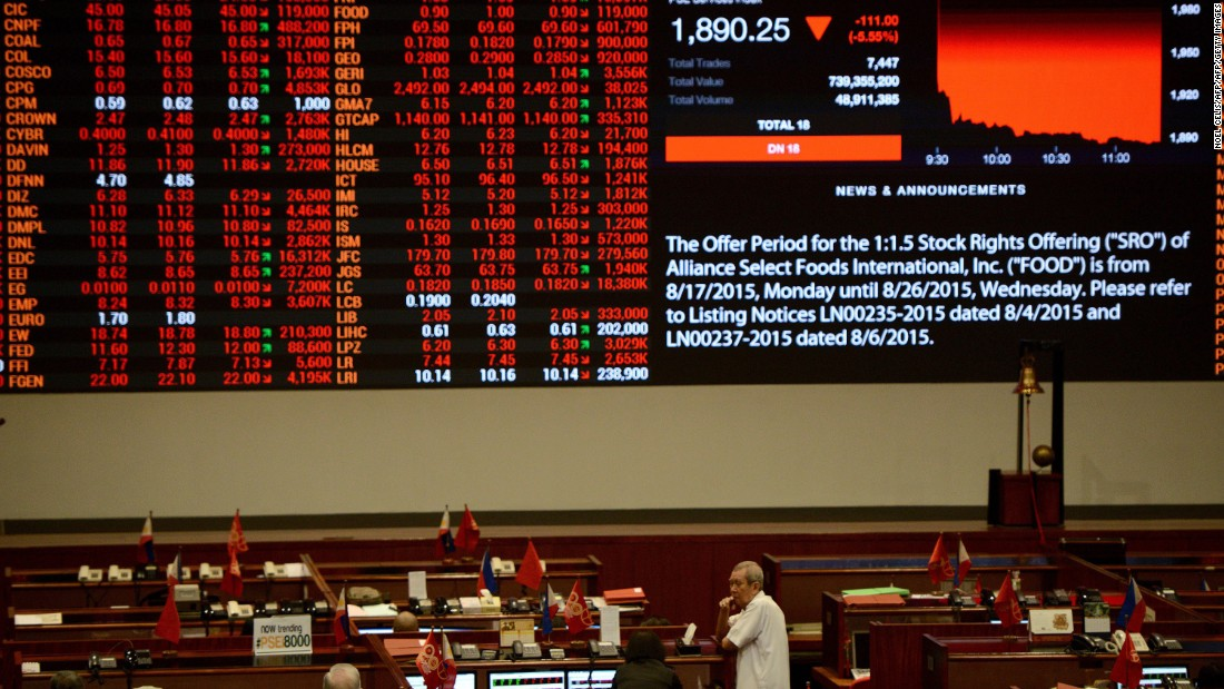 A stock shares board is displayed on the trading floor of the Philippine Stock Exchange in Manila on August 24. The Philippine stock market had plunged by 6.4% by midday Monday.