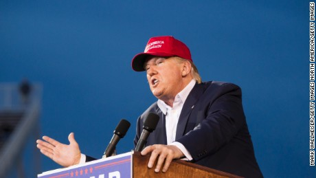 MOBILE, AL- AUGUST 21: Republican presidential candidate Donald Trump speaks during a rally at Ladd-Peebles Stadium on August 21, 2015 in Mobile, Alabama. The Trump campaign moved tonight's rally to a larger stadium to accommodate demand. (Photo by Mark Wallheiser/Getty Images)