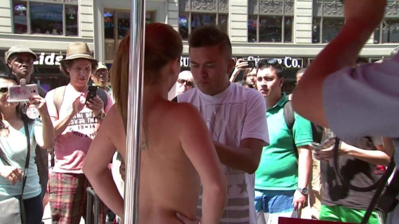 Controversy over topless women in Times Square