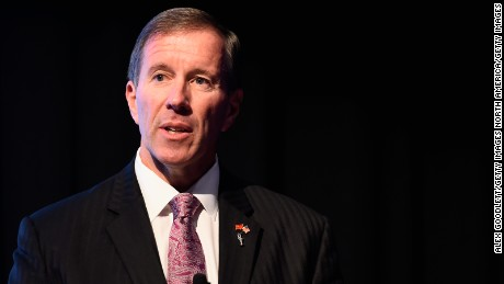 NEW YORK, NY - DECEMBER 02:  The Premier of Bermuda Michael Dunkley speaks during a press confrence for the 2017 America's Cup at the Crosby Street Hotel on December 2, 2014 in New York City.  (Photo by Alex Goodlett/Getty Images)