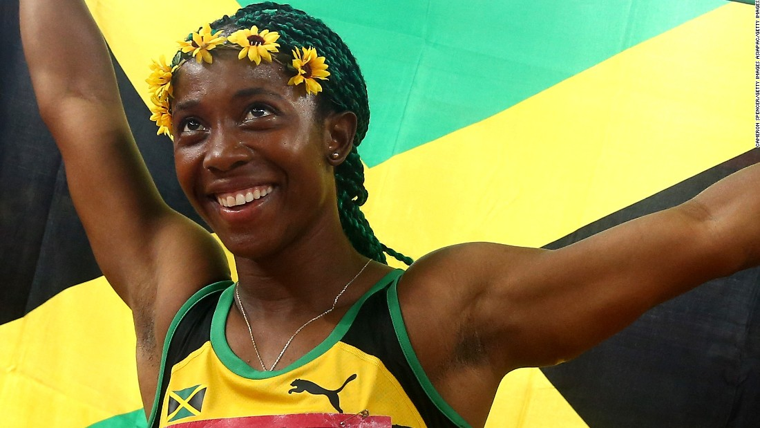 BEIJING, CHINA - AUGUST 24:  Shelly-Ann Fraser-Pryce of Jamaica celebrates after winning gold in the Women's 100 metres final during day three of the 15th IAAF World Athletics Championships Beijing 2015 at Beijing National Stadium on August 24, 2015 in Beijing, China.  (Photo by Cameron Spencer/Getty Images)