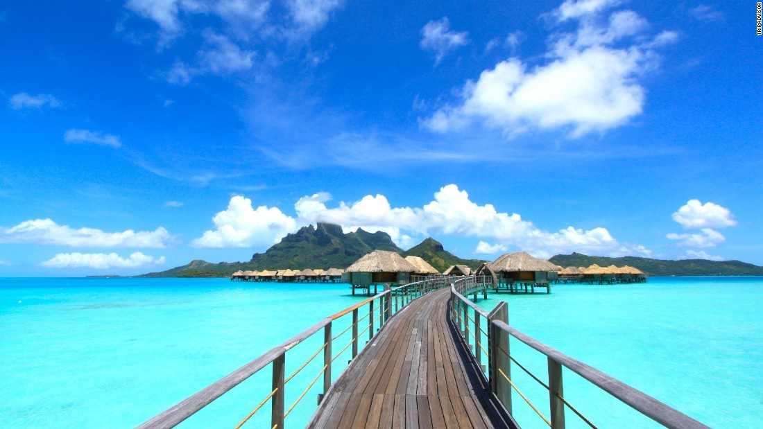 The tiny island of Bora Bora in French Polynesia, which came in third place, offers lush jungles and picturesque beaches. A number of resorts feature overwater bungalows, such as the Four Seasons Bora Bora.