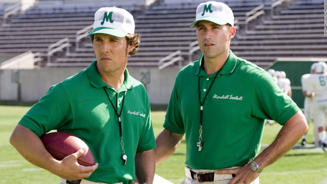 "Matthew McConaughey, left, plays a coach in the inspirational 2006 movie ""We Are Marshall."" The film explores the rebuilding of the Marshall University football program after many of its players and coaches were killed in a 1970 plane crash."