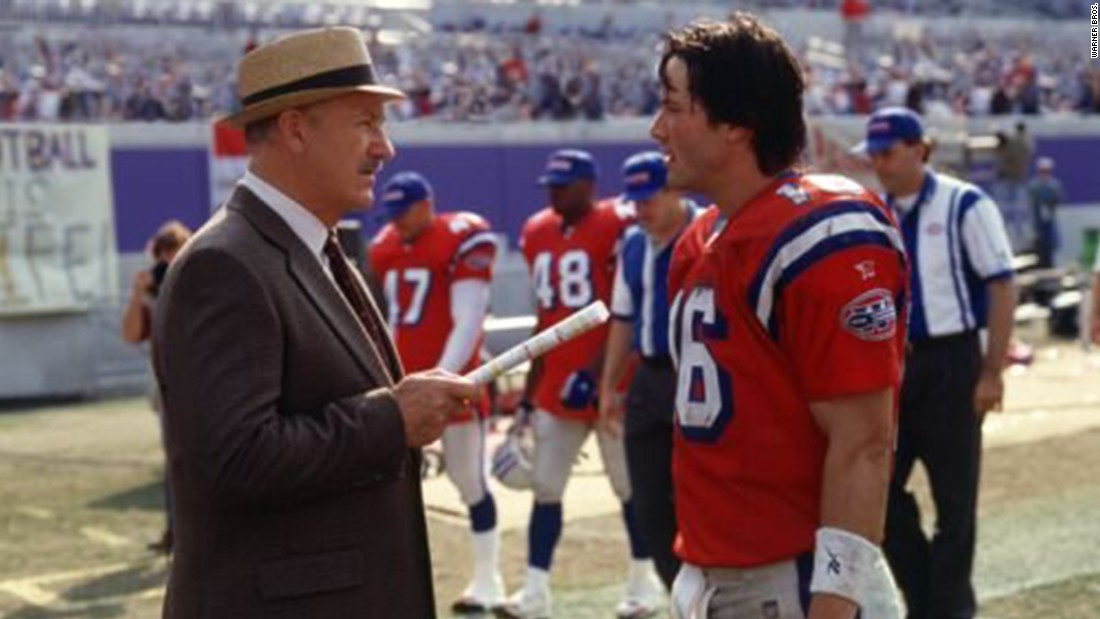 "Keanu Reeves and Gene Hackman star in 2000's ""The Replacements,"" about a football team staffed by ""scabs"" after the players go on strike."