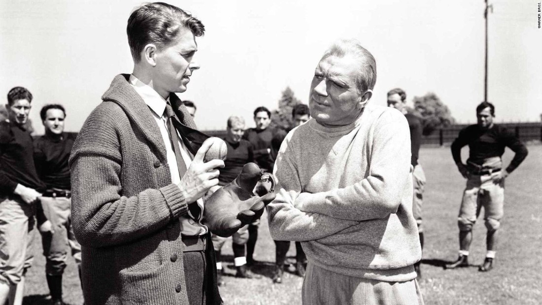 "The 1940 biopic ""Knute Rockne, All-American"" tells the story of the revered Notre Dame football player and coach. It stars future president Ronald Reagan as the ill-fated George ""Gipper"" Gip."