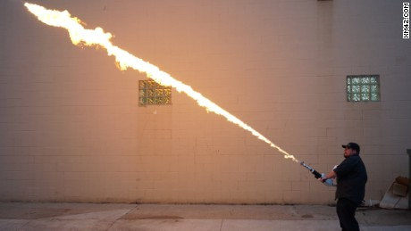 Flamethrowers like these are made in Warren, Michigan -- something that city's mayor wants to stop.