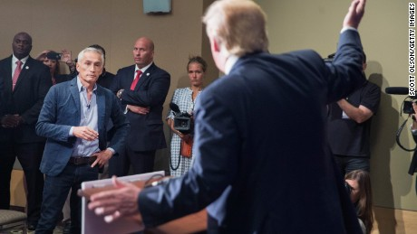 DUBUQUE, IA - AUGUST 25:  Republican presidential candidate Donald Trump fields a question from Univision and Fusion anchor Jorge Ramos during a press conference held before his campaign event at the Grand River Center on August 25, 2015 in Dubuque, Iowa. Earlier in the press conference Trump had Ramos removed from the room when he failed to yield when Trump wanted to take a question from a different reporter. Trump leads most polls in the race for the Republican presidential nomination.  (Photo by Scott Olson/Getty Images)