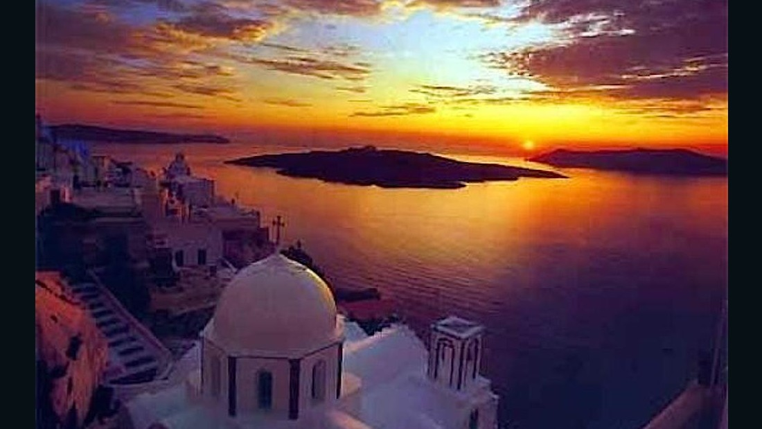 The famed blue and white houses of Santorini, one of Greece's most popular tourist islands, have appeared on many an Instagram feed. But the island's sunsets rank up there with some of the best in the world.