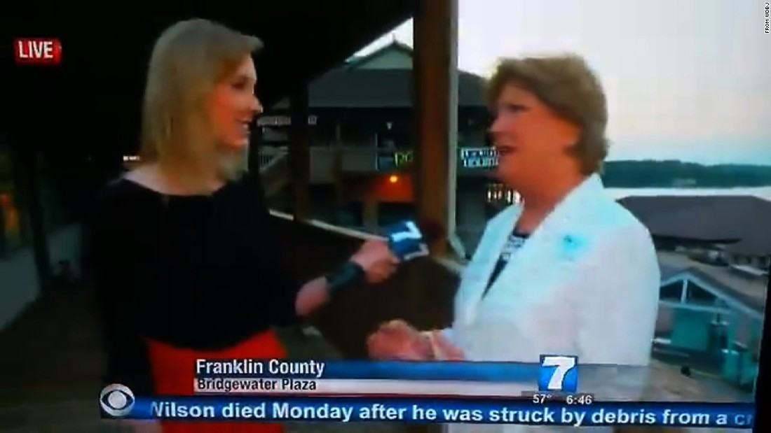 WDBJ reporter Alison Parker, left, was interviewing Vicki Gardner, a chamber of commerce executive, in Franklin County, Virginia, Wednesday morning. Moments later, on live TV, gunshots were fired, killing Parker and cameraman Adam Ward.