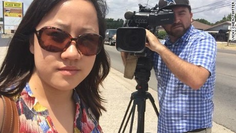 "Investigative reporter Vicki Chen called on news crews via Twitter to ""join us in saying #WeStandWithWDBJ. Proud & not afraid to be a journalist today."""