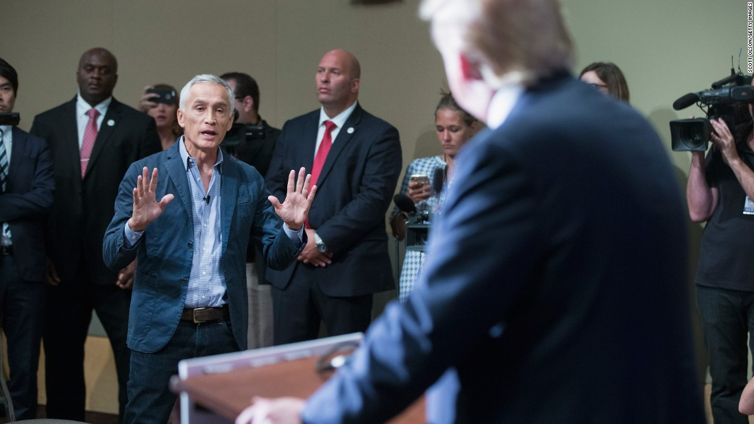 "Republican presidential candidate Donald Trump fields a question about immigration from Univision and Fusion anchor Jorge Ramos on August 25 in Dubuque, Iowa, a few minutes after Trump had Ramos <a href=""http://www.cnn.com/2015/08/25/politics/donald-trump-megyn-kelly-iowa-rally/index.html"">removed from the room</a>. The respected anchor had failed to yield when Trump wanted to take a question from a different reporter."