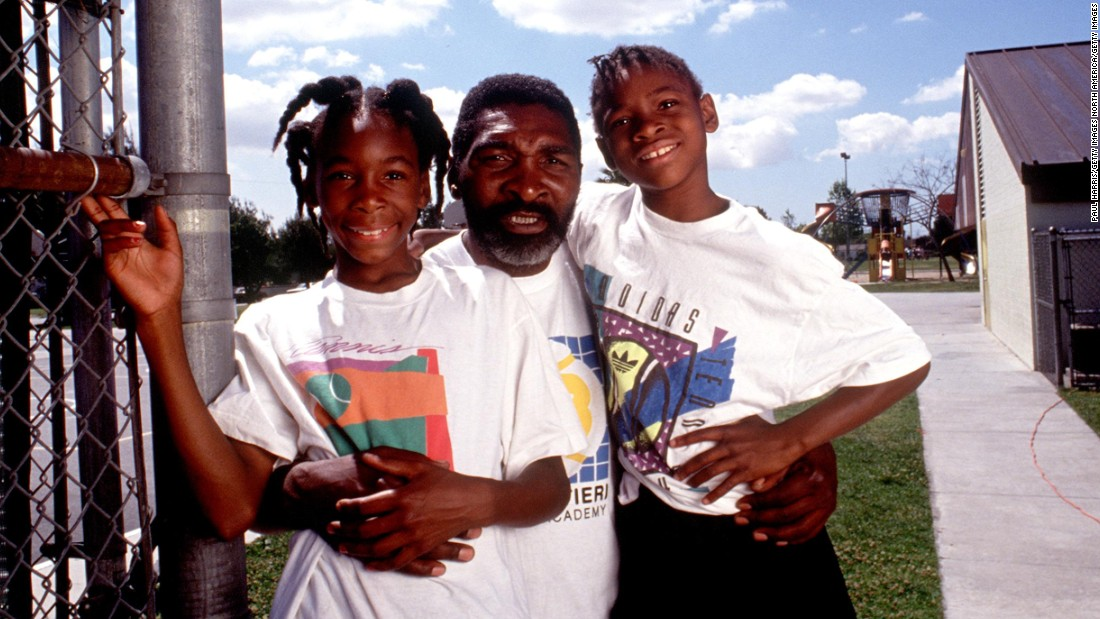 Venus, left, is seen with her father, Richard, and her sister in 1991. Both of the girls would go on to become legends in their sport.