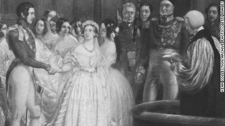 Engraving depicting the wedding of Queen Victoria and Prince Albert.