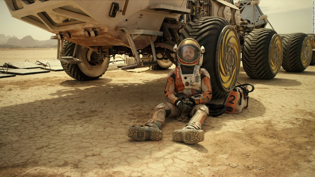 "<strong>""The Martian"" </strong>stars Matt Damon as an astronaut marooned on Mars after his shipmates leave him behind. He has to survive for months while awaiting a rescue attempt. The film's cast also includes Jessica Chastain, Kristen Wiig and Jeff Daniels."
