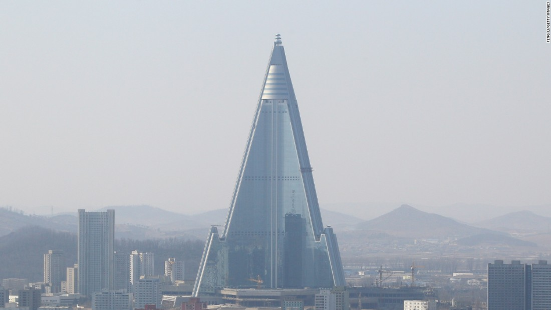 The Ryugyong Hotel dominates the skyline in Pyongyang. The building, which measures 1,083 feet (330 meters), has been under construction since the mid-1980s. It's unclear when it will open.