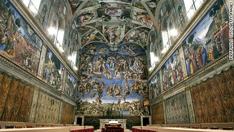 Architectural masterpieces like the Sistine chapel have the ability to leave us in awe in their presence. One way they do this by giving a sense of elevation through lifting the eyes up to view their design. Pictured, the Sistine Chapel with Michelangelo's fresco ' The Last Judgment ' at the Vatican.