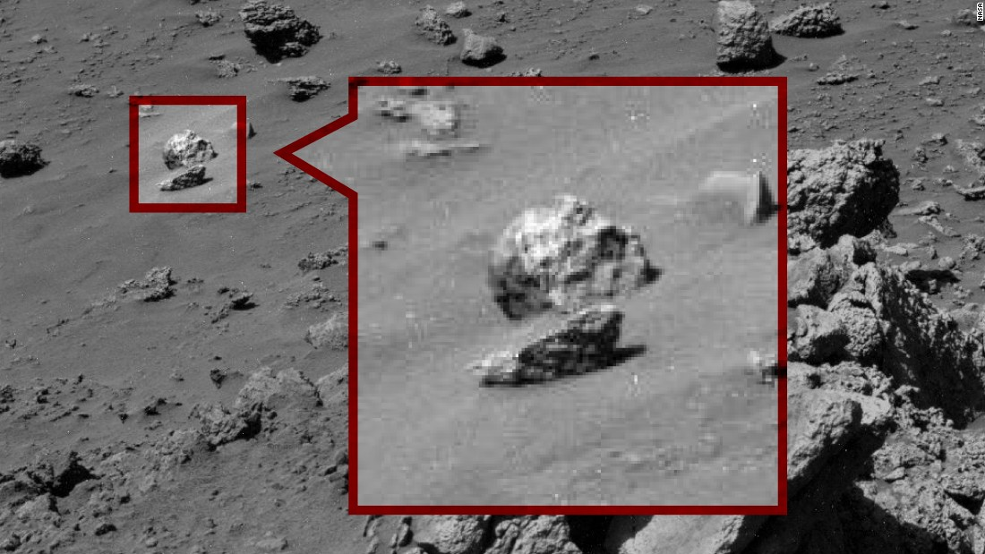 "The Skull: This ""humanoid skull"" was spotted on Mars last year. Paranormal Crucible says ""it's clearly not a rock."" Right."