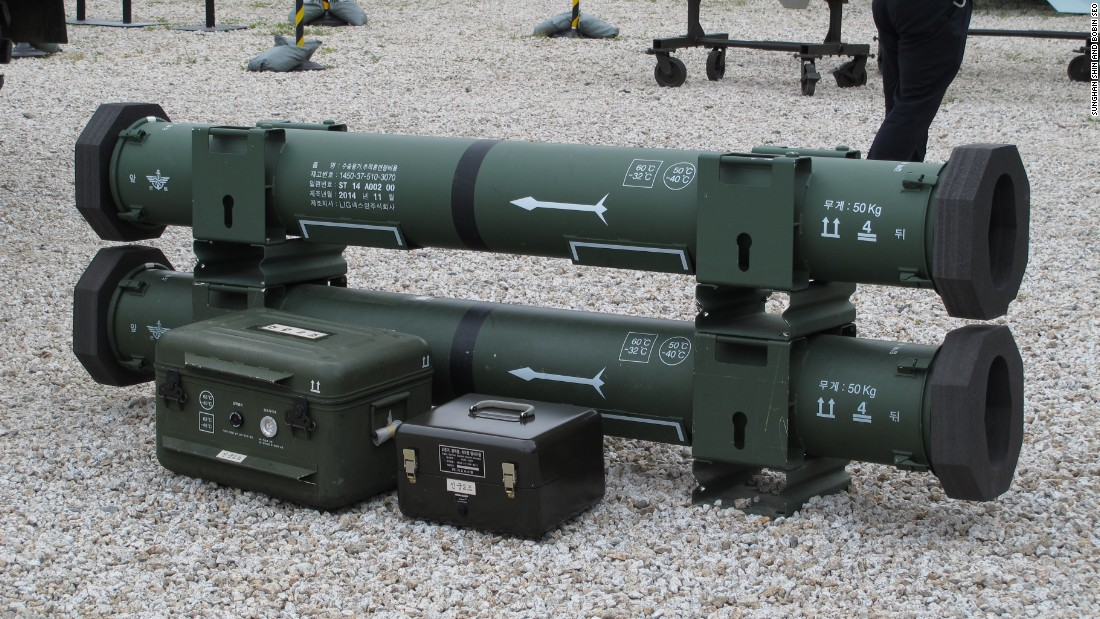 "The South Korean ""Shin Goong"" (God of Archery) portable anti-aircraft missile. It weighs 19.5 kilograms."