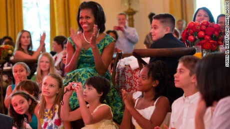 "First Lady Michelle Obama and guests at the 2012 Kids' ""State Dinner."""