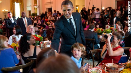 "President Barack Obama drops by the 2012 kids' ""state dinner."""
