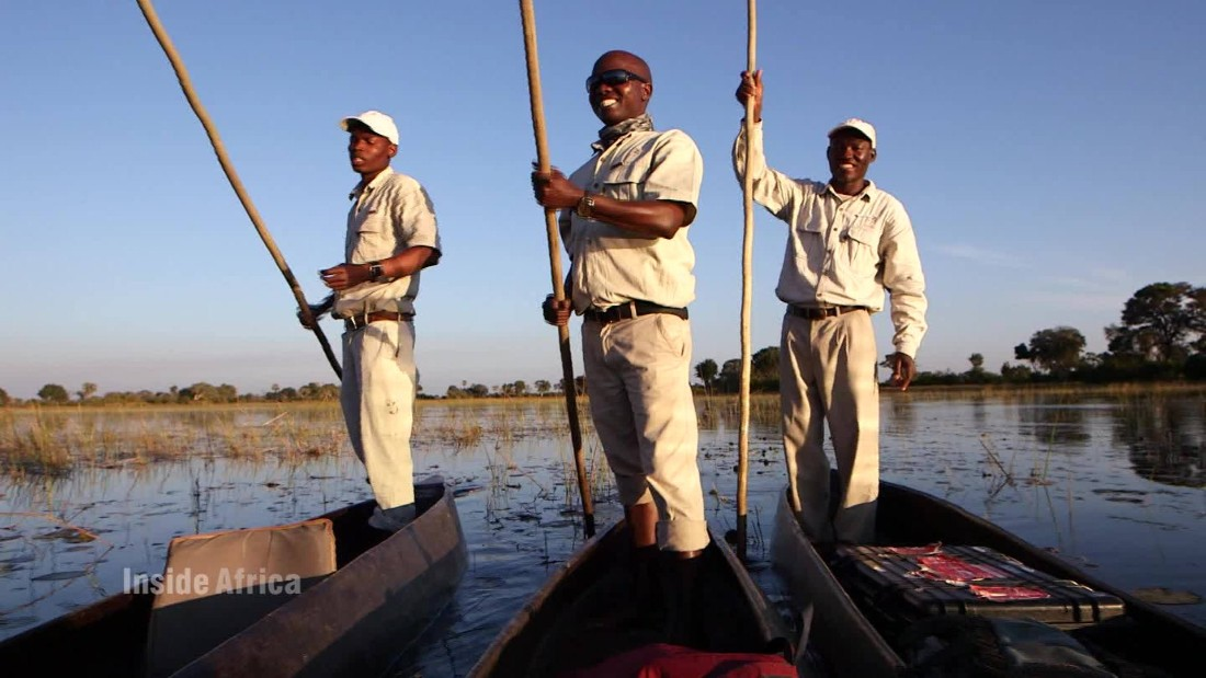 Guides navigate the Delta by mokoro, a traditional Delta canoe, built from the trunks of the Okavango's trees.