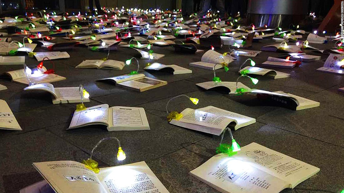 "It's not the first time Popular Bookmall has employed inventive tactics to promote reading. Last year, the company laid out 1,000 books and reading lamps on the ground and encouraged people ""to go on a date"" with a book."