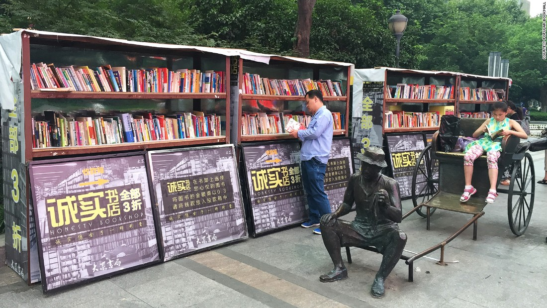 Popular Bookmall, which operates eight bookstores in China, runs a streetside shop that operates under the honor system. The company hopes it will encourage locals to read more.