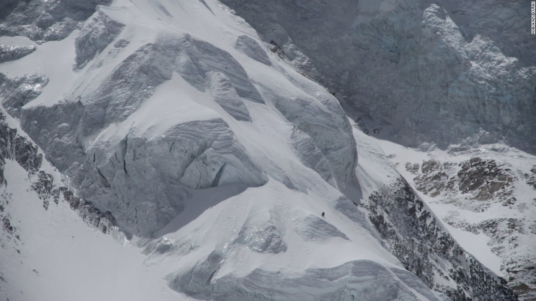"""Icefall doctors"" are currently preparing the way for Kuriki's Everest ascent but warn his climb needs to be completed by early October. This image shows Kuriki climbing Nepal's Mount Annapurna solo in 2010."