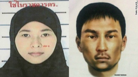 Police handout showing Wanna Suansan and a sketch of the unidentified male.
