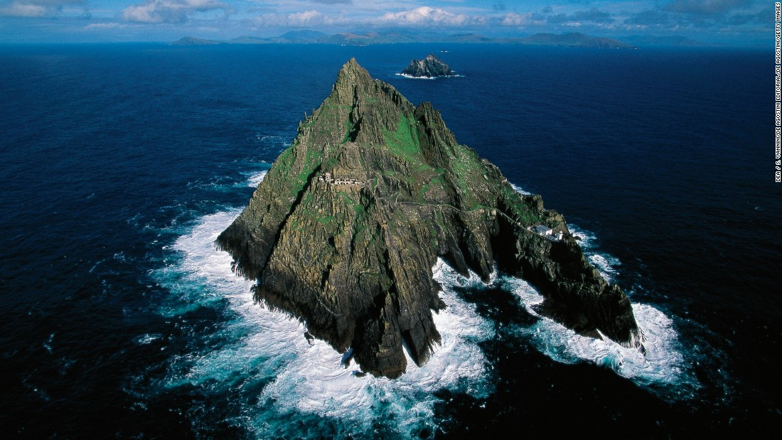 "The finale of ""The Force Awakens"" was filmed at the ruins of this seventh-century monastery, which sits on the steep sides of the island Skellig Michael. This UNESCO World Heritage Site lies off the coast of County Kerry in Ireland."