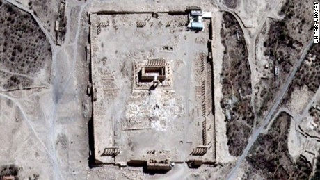 A satellite image of the Temple of Bel, Palmyra. Image by Airbus DS, UNITAR-UNOSAT.