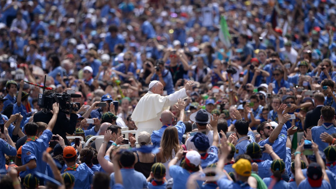 Pope Francis greets a crowd of Italian Catholics Scouts at St. Peter's Square on Saturday, June 13.